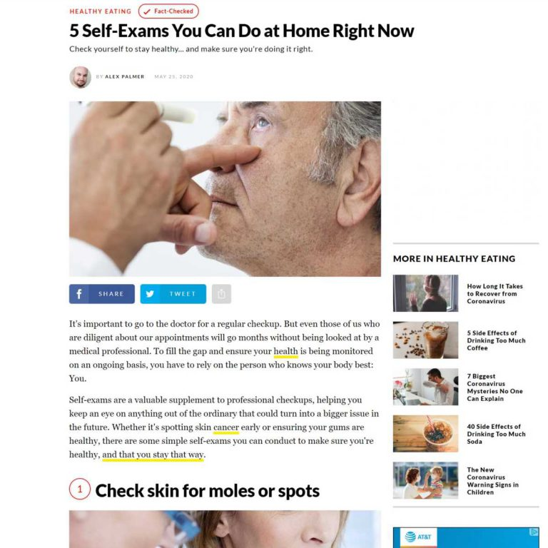 Link to a Eat This, Not That article called 5 Self-Exams You Can Do At Home.