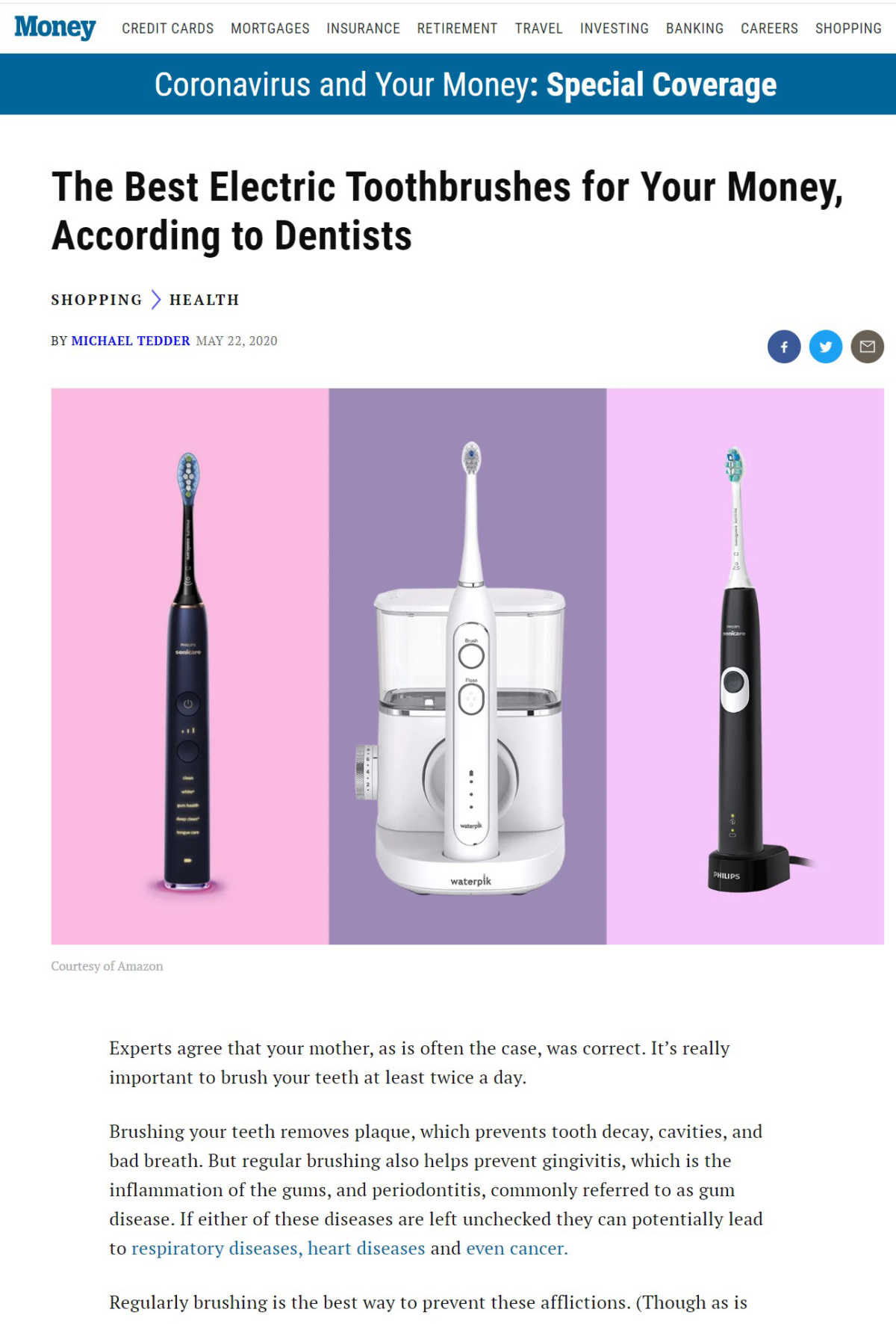 Link to a Money Magazine Article about the Dr. Pia talks with Money Magazine about the Best Electric Toothbrushes according to dentists.