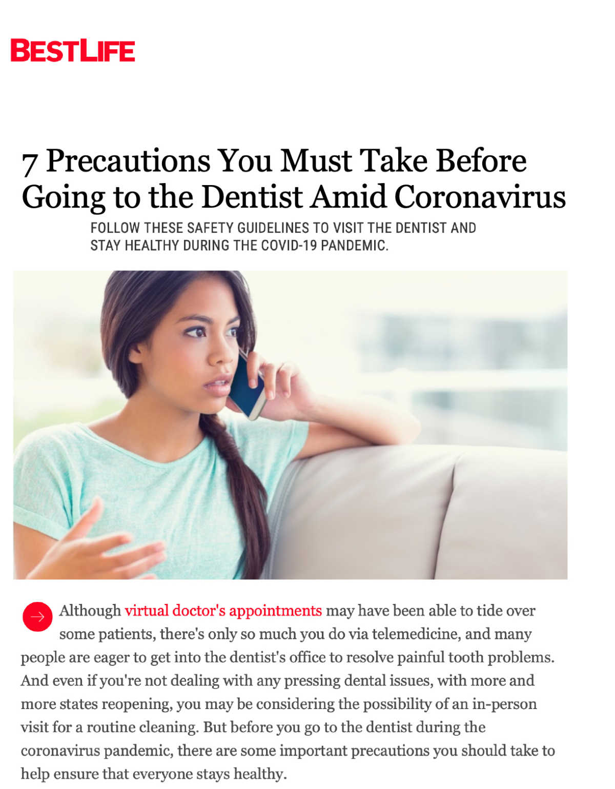 Link to a Bestlife article about precautions to take when going to the dentist amid Coronavirus.