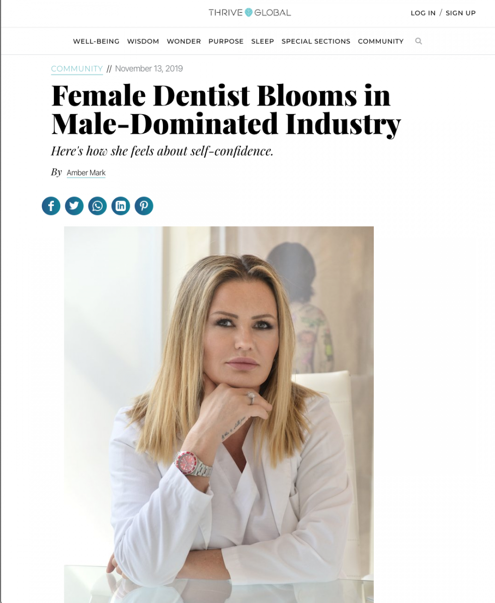 Link to a Thrive Global article about what its like to be a Female Dentist in Male-Dominated Industry