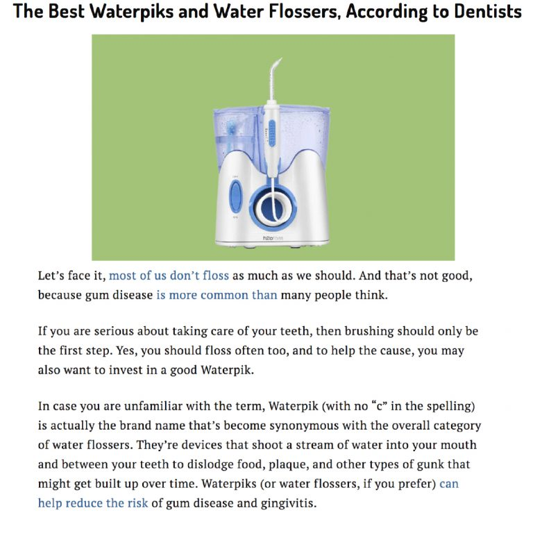 Link to an Article from Money.com about The Best Waterpiks and Water Flossers for Your Money, According to Dentists