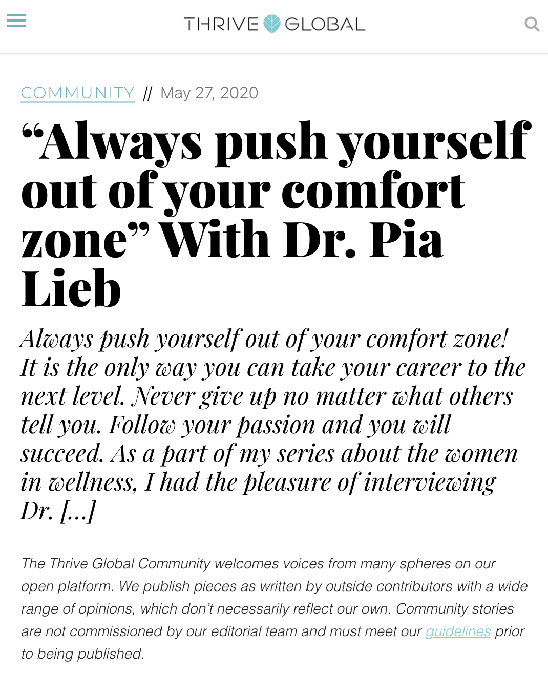 Link to a Thrive Global Article about Always pushing yourself out of your comfort zone.