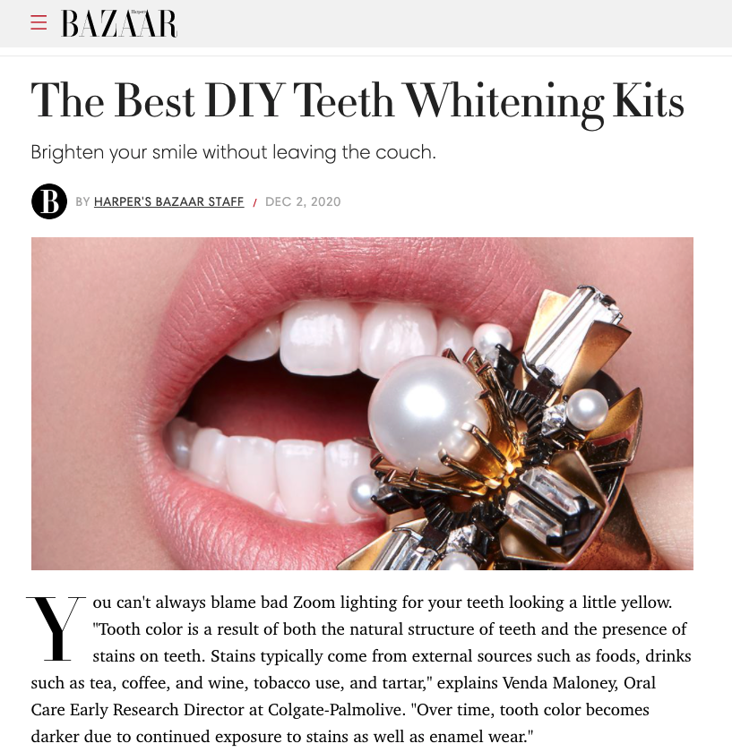Link to an article in Harper's Bazaar about Dr. Pia talks with Harper's Bazaar about the Best DIY Teeth Whitening Kits.